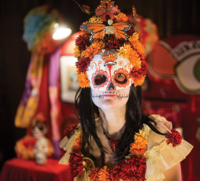 a woman in Day of the Dead skull mask and floral costume