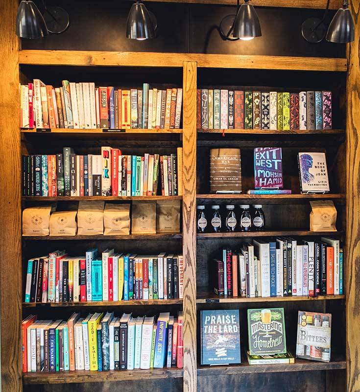 Shelves stuffed with books