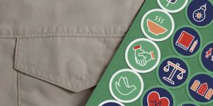 pic - Close up of Scout sash with many badges