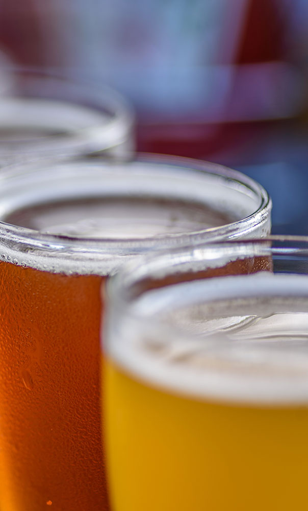 Close up of several beers