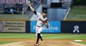 Birmingham Barons baseball pitcher throws a ball