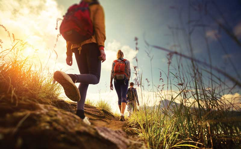worm's eye view of three hikers in a field